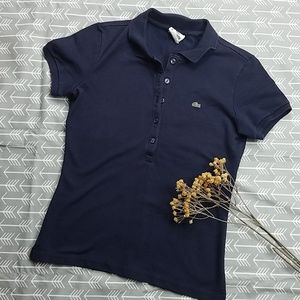 Lacoste womens navy blue polo shirt top